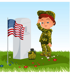 memorial day child on military cemeterylittle vector image