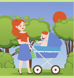 mother in park with baby stroller woman cartoon vector image