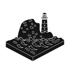 Mountains lighthouse and sea relief and vector