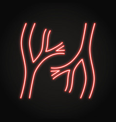 Neon blood vessels icon in line style vector