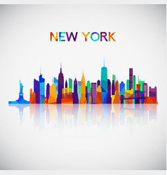 new york skyline silhouette in colorful geometric vector image