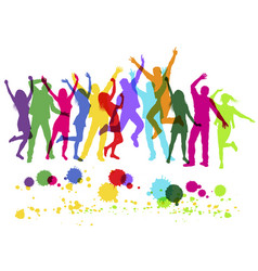 people colorful silhouettes dancing on party vector image