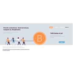 people team pulling rope bitcoin mining concept vector image