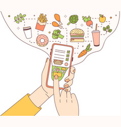 Poster template with hands holding phone with food vector