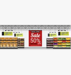 Promotion sign in modern supermarket background vector