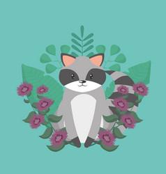 raccoon cartoon around flowers vector image