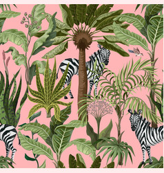 seamless pattern with tropical trees and zebra vector image