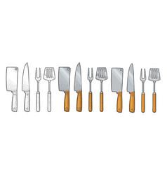 Set bbq utensils spatula fork knifes vector