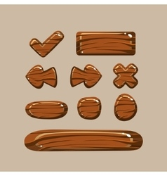 set cartoon wooden buttons vector image