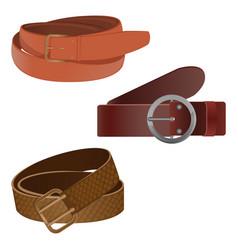 set leather waist belts isolated modern unisex vector image