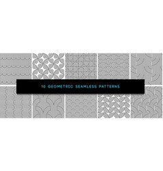set monochrome geometric seamless patterns vector image