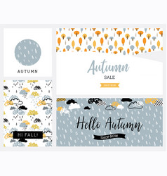 set of artistic creative autumn cards design for vector image