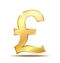 shiny golden pound currency symbol vector image