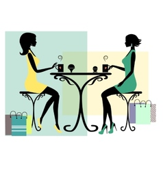 Silhouette of two fashionable shopping women vector