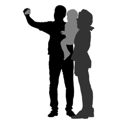 Silhouettes man and woman with a child make vector