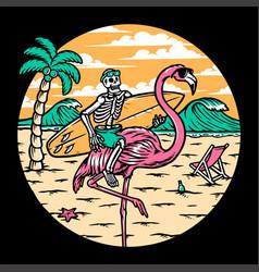 skull and flamingo on beach vector image