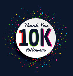 Social media 10000 followers success with confetti vector