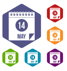 Spiral calendar page 14th of may icons set hexagon vector