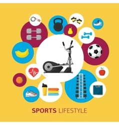 Sports equipment background flat icon vector image