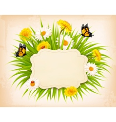 Spring banner with grass flowers and butterflies vector