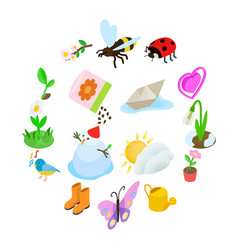 spring elemets icons set isometric 3d style vector image