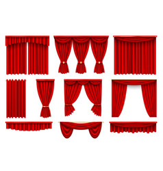 Stage red curtains realistic vector