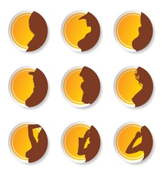 sticker of girl set beauty silhouette vector image vector image