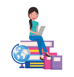 student woman with laptop books and school globe vector image