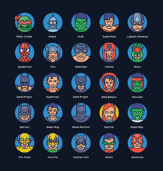Superheroes and villains flat icons pack vector