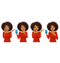 Surprised african woman with phone vector