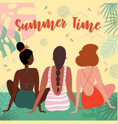 three women on vacation in swimsuit on the beach vector image
