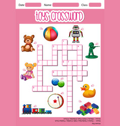Toys crossword game template vector