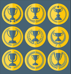 trophy and awards retro vintage collection 5 vector image