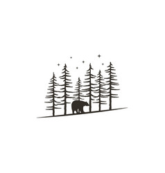 Vintage hand drawn forest concept with bear black vector