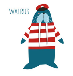 Walrus in captain outfit childish book character vector