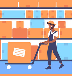 Warehouse worker in uniform pulling trolley hand vector