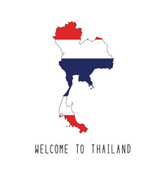 Welcome to thailand text and thailand flag on map vector
