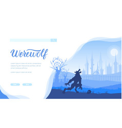 Werewolf landing page template vector