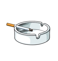 White clean and empty ceramic ashtray with a vector image