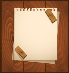 White paper with wood background vector image