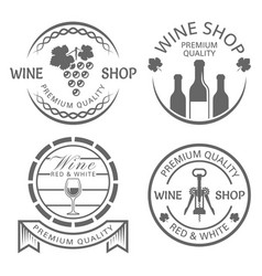 wine shop set of monochrome vintage labels vector image