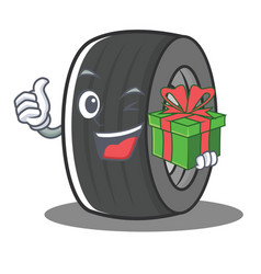 With gift tire character cartoon style vector