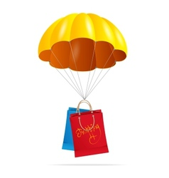Yellow parachute with shopping bag vector image