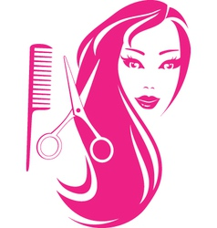 beautiful girl with scissors and comb vector image