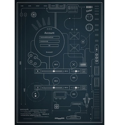blueprint infographics drawing a schematic abstrac vector image