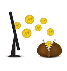 coins with a wallet and a monitor vector image