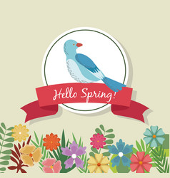 hello spring greeting card blue bird flowers vector image