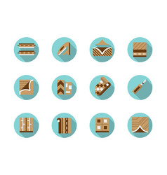 linoleum store round flat color icons set vector image vector image
