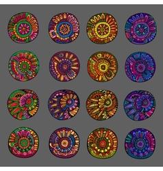 Set of 4 colors floral design elements vector