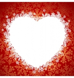 snow frame heart vector image vector image
